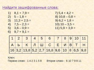 Найдите зашифрованные слова: 8,1 + 7,9 =7) 5,4 + 4,2 = 5 – 1,8 = 8) 10,