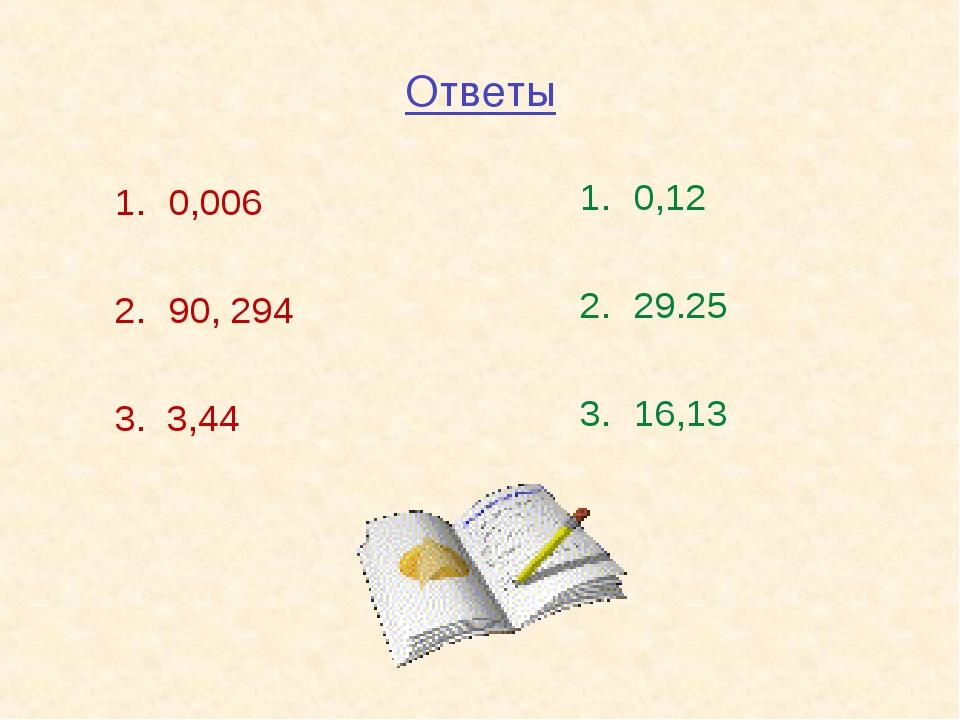 Ответы 0,006 90, 294 3. 3,44 0,12 29.25 16,13