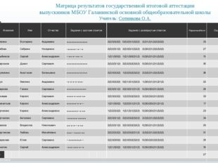 Матрица результатов государственной итоговой аттестации выпускников МБОУ Гала