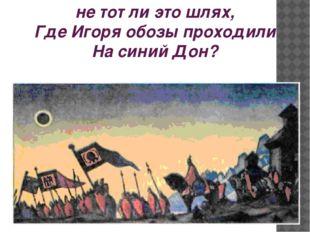 не тот ли это шлях, Где Игоря обозы проходили На синий Дон?