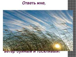 Ответь мне, ветер буйный и тоскливый!