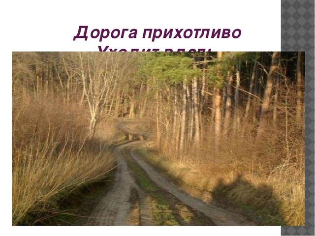 Дорога прихотливо Уходит вдаль.