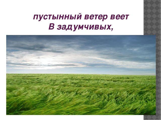 пустынный ветер веет В задумчивых, тоскующих полях.