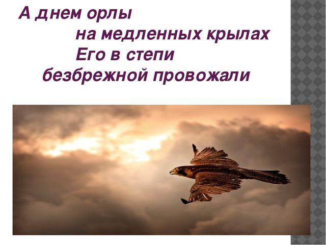 А днем орлы на медленных крылах Его в степи безбрежной провожали