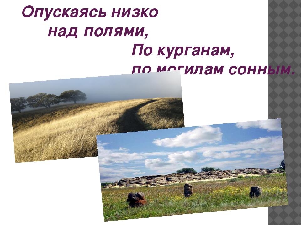 Опускаясь низко над полями, По курганам, по могилам сонным.