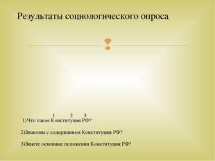 1)Что такое Конституция РФ? 2)Знакомы с содержанием Конституции РФ? 3)Знаете
