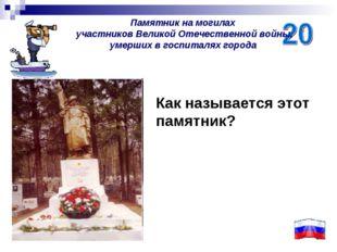 Памятник на могилах участников Великой Отечественной войны, умерших в госпита