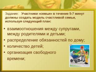 Задание: Участники «семьи» в течение 5-7 минут должны создать модель счастлив