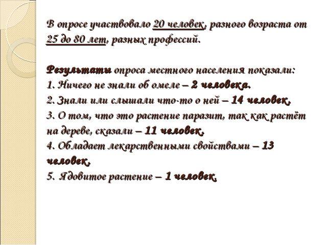 В опросе участвовало 20 человек, разного возраста от 25 до 80 лет, разных про...