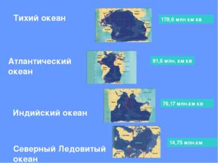 Тихий океан Атлантический океан Индийский океан Северный Ледовитый океан 178,