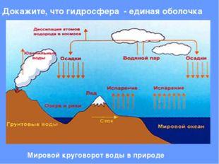 Докажите, что гидросфера - единая оболочка Мировой круговорот воды в природе