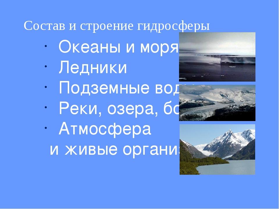 Состав и строение гидросферы Океаны и моря Ледники Подземные воды Реки, озера...