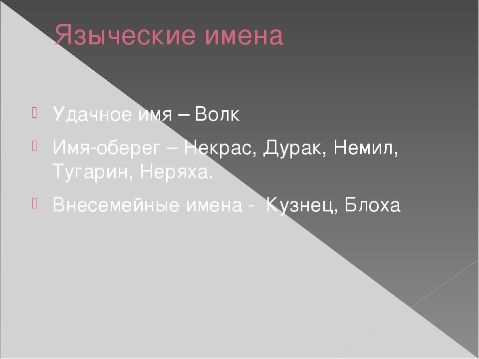 Языческие имена Удачное имя – Волк Имя-оберег – Некрас, Дурак, Немил, Тугарин...