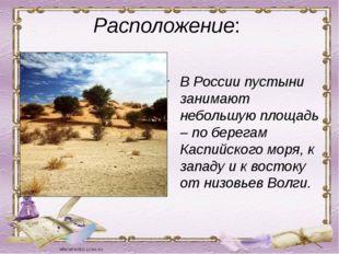 Расположение: В России пустыни занимают небольшую площадь – по берегам Каспий