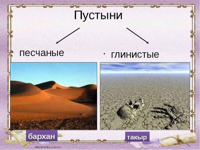 Пустыни песчаные глинистые бархан такыр