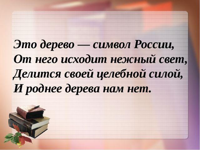 Это дерево — символ России, От него исходит нежный свет, Делится своей целебн...