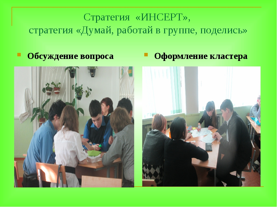 Стратегия «ИНСЕРТ», стратегия «Думай, работай в группе, поделись» Обсуждение...