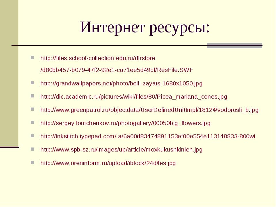 Интернет ресурсы: http://files.school-collection.edu.ru/dlrstore/d80bb457-b07...