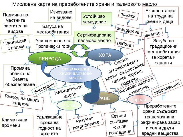 Сертифицирано палмово масло Мисловна карта на преработените храни и палмовото...