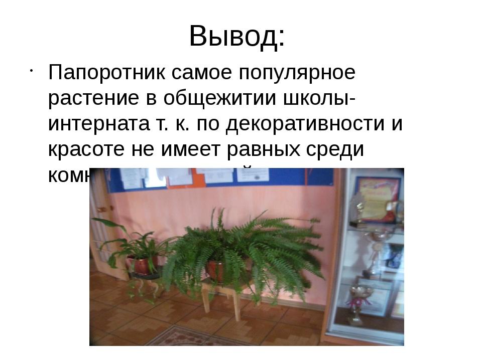 Вывод: Папоротник самое популярное растение в общежитии школы- интерната т. к...