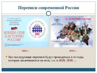 Переписи современной России Все последующие переписи будут проводиться в те г