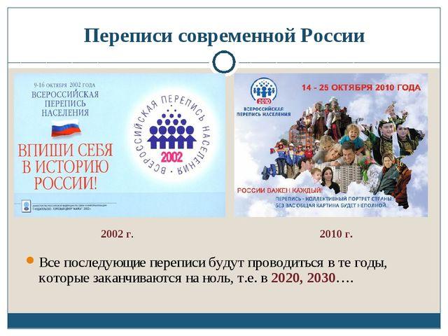 Переписи современной России Все последующие переписи будут проводиться в те г...