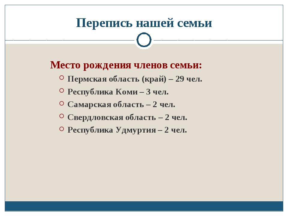 Перепись нашей семьи Место рождения членов семьи: Пермская область (край) – 2...