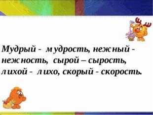 Мудрый - мудрость, нежный - нежность, сырой – сырость, лихой - лихо, скорый -