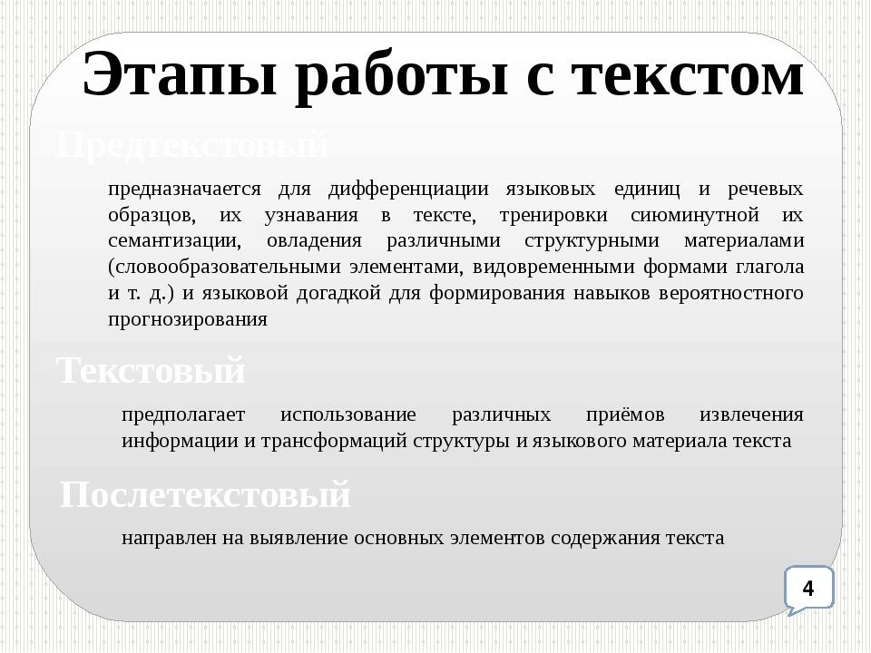 Этапы работы с текстом предназначается для дифференциации языковых единиц и р...