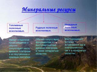 Минеральные ресурсы Топливные полезные ископаемые. Имеют осадочное происхожде