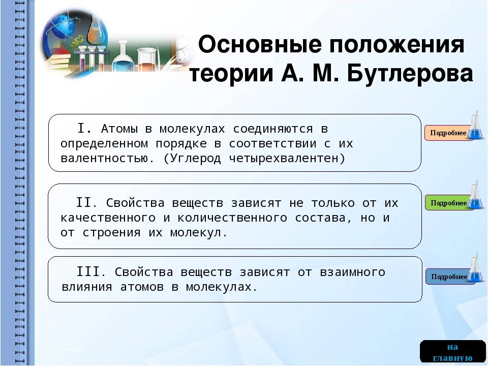 Основные положения теории А. М. Бутлерова Подробнее на главную Подробнее Подр...