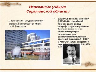 Известные учёные Саратовской области ВАВИЛОВ Николай Иванович (1887-1943), ро