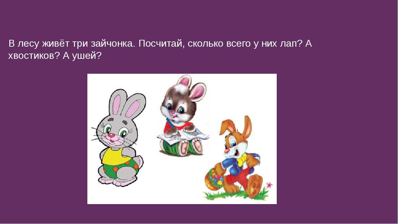 В лесу живёт три зайчонка. Посчитай, сколько всего у них лап? А хвостиков? А...