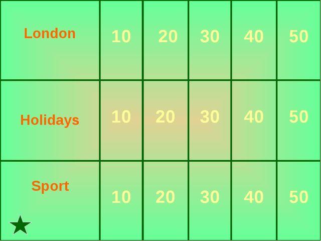 London  10 20 30 40 50 Holidays 10 20 30 40 50 Sport 10 20 30...
