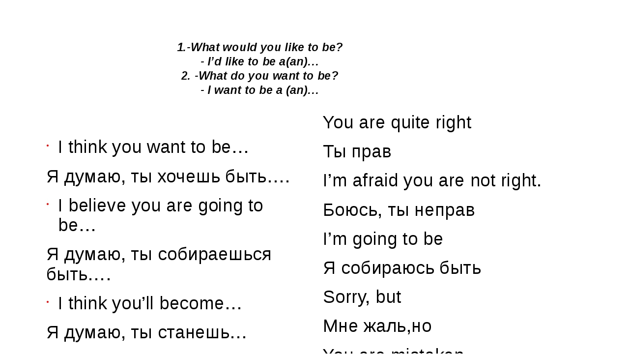 I think you want to be… Я думаю, ты хочешь быть…. I believe you are going to...