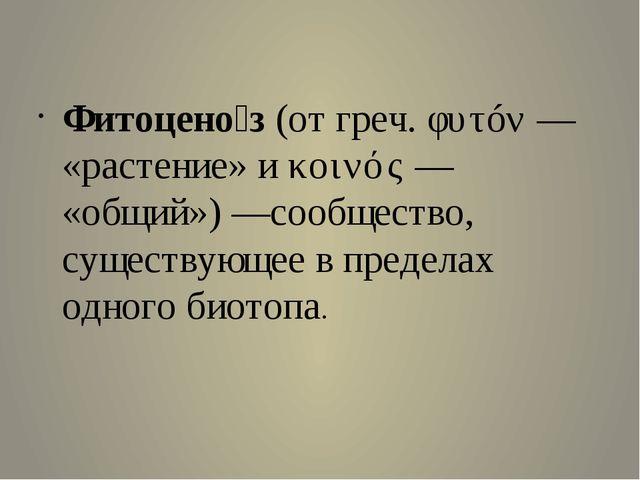 Фитоцено́з (от греч. φυτóν— «растение» и κοινός— «общий»)—с...