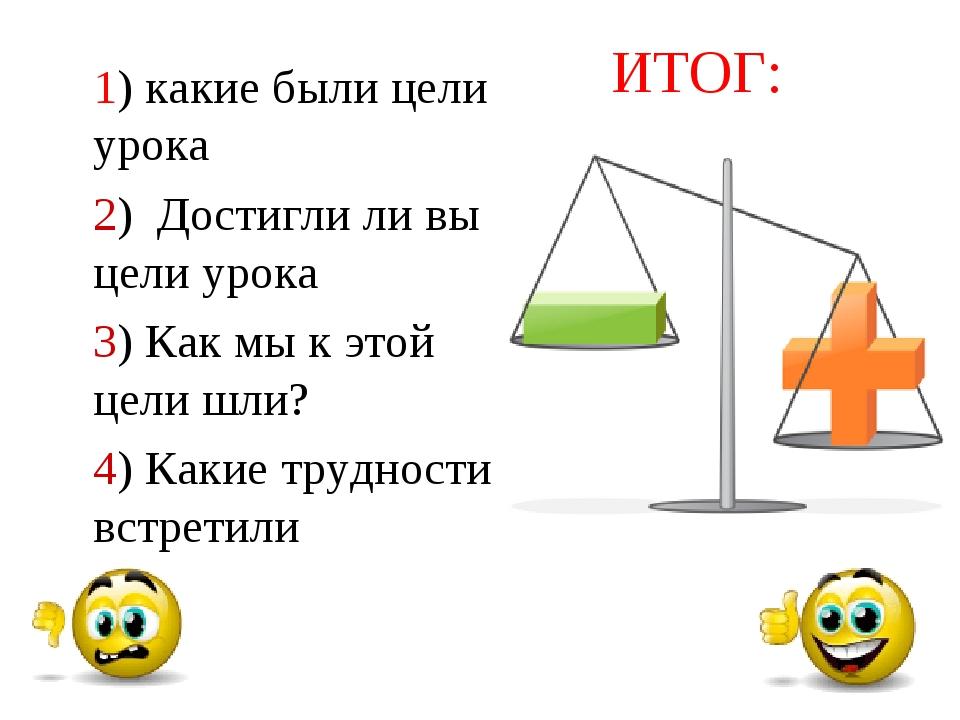 Моя работа на уроке ИТОГ: 1) какие были цели урока 2) Достигли ли вы цели уро...
