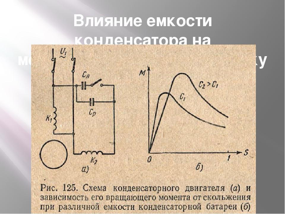 Влияние емкости конденсатора на механическую характеристику