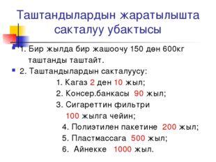Таштандылардын жаратылышта сакталуу убактысы 1. Бир жылда бир жашоочу 150 дөн