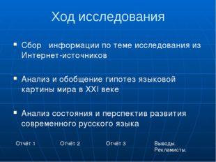 Ход исследования Сбор информации по теме исследования из Интернет-источников