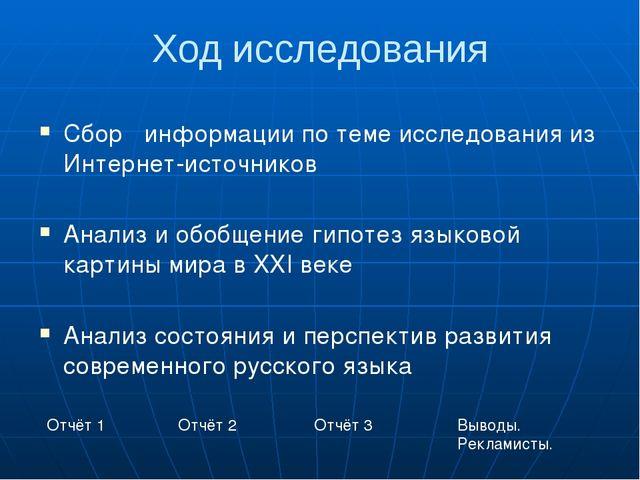 Ход исследования Сбор информации по теме исследования из Интернет-источников...