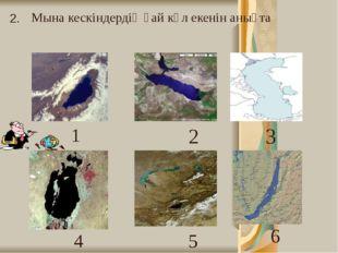 Мына кескіндердің қай көл екенін анықта 2. 1 2 3 4 5 6