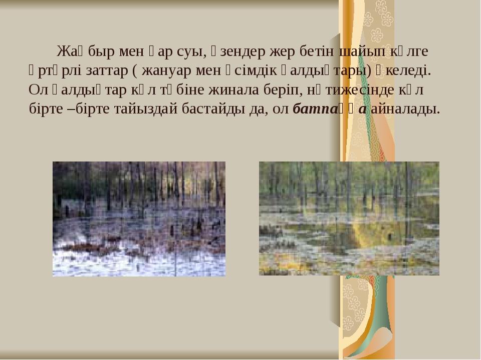 Жаңбыр мен қар суы, өзендер жер бетін шайып көлге әртүрлі заттар ( жануар ме...