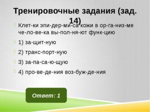 Тренировочные задания (зад. 14) Клетки эпидермиса кожи в организме че