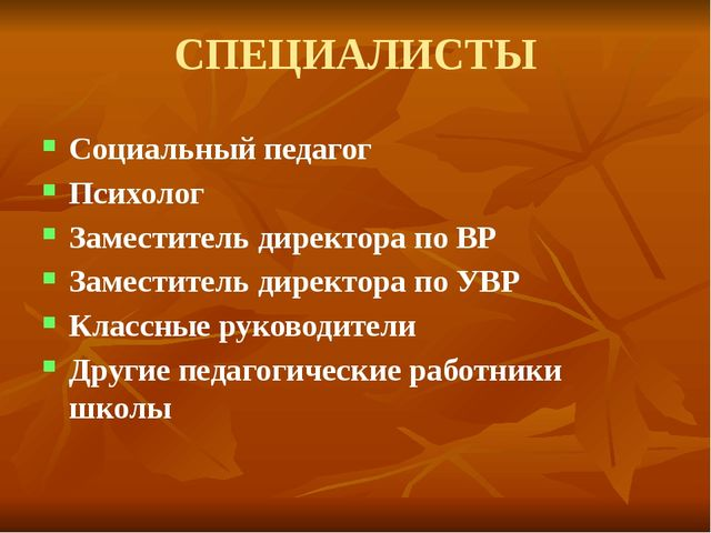 СПЕЦИАЛИСТЫ Социальный педагог Психолог Заместитель директора по ВР Заместите...