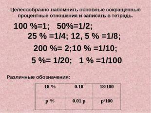 Целесообразно напомнить основные сокращенные процентные отношения и записать