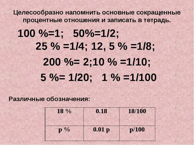 Целесообразно напомнить основные сокращенные процентные отношения и записать...