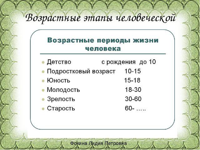 Возрастные этапы человеческой жизни Фокина Лидия Петровна