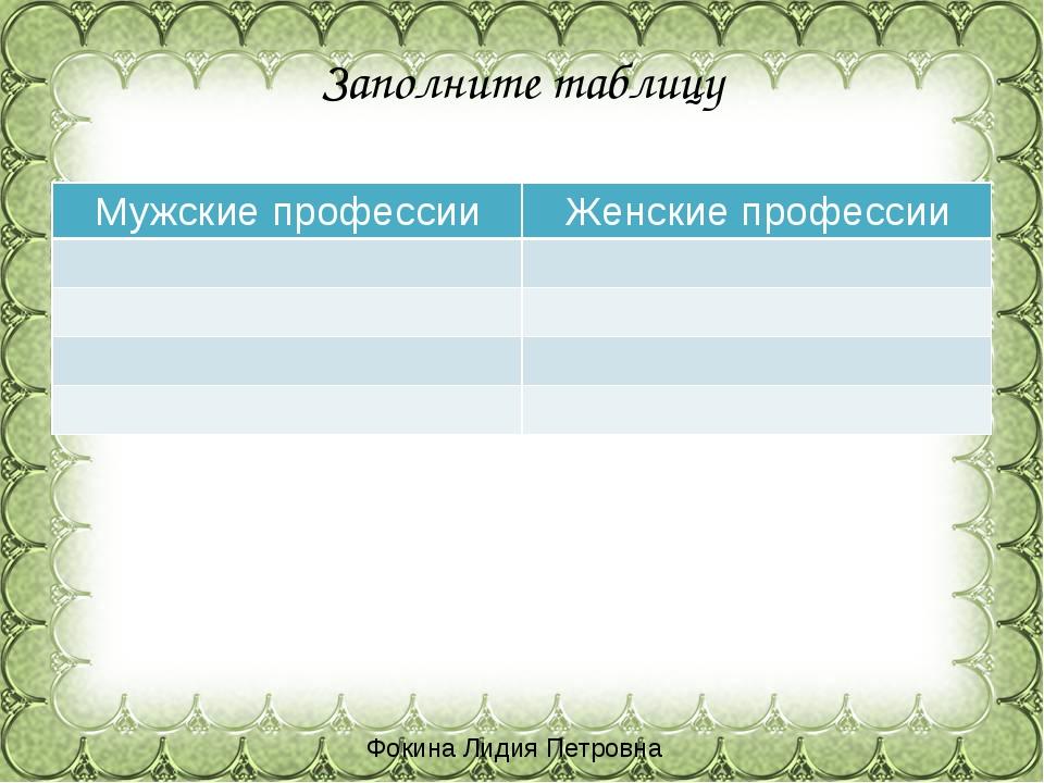 Заполните таблицу Фокина Лидия Петровна Мужские профессии Женские профессии