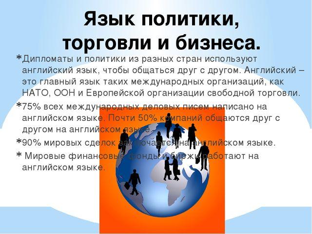 Язык политики, торговли и бизнеса. Дипломаты и политики из разных стран испол...
